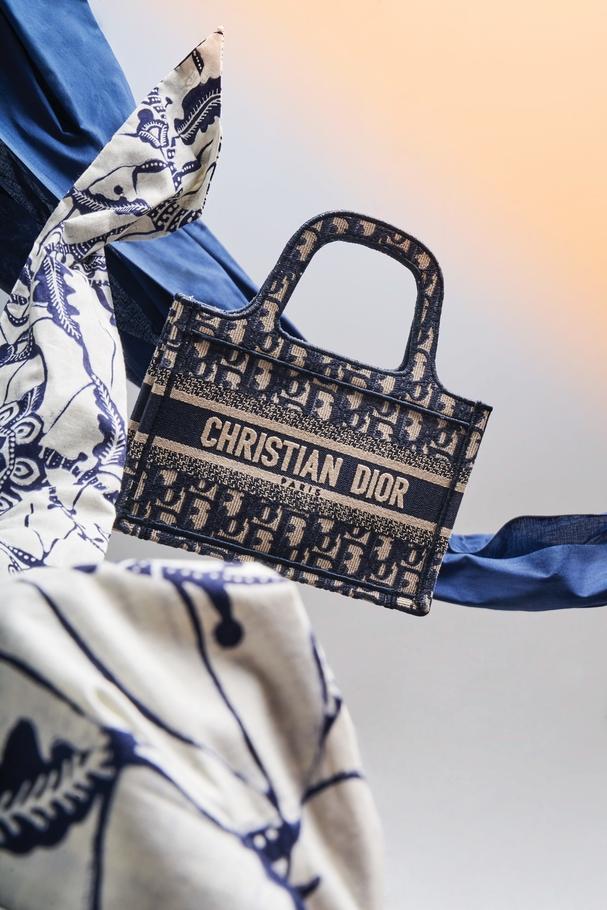 حقيبة يد Mini Book Tote مطرّزة بقماش Dior Oblique